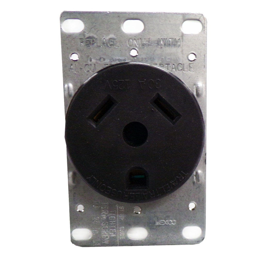 Brown Eaton 1263 30-Amp 2-Pole 3-Wire 125-Volts Heavy Duty Grade Flush Mount Power Receptacle